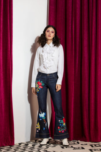 EARLA MID RISE EMBROIDERED DENIM